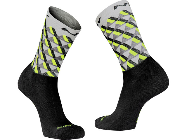 Northwave Core High-Cut Socken Herren light grey/yellow fluo